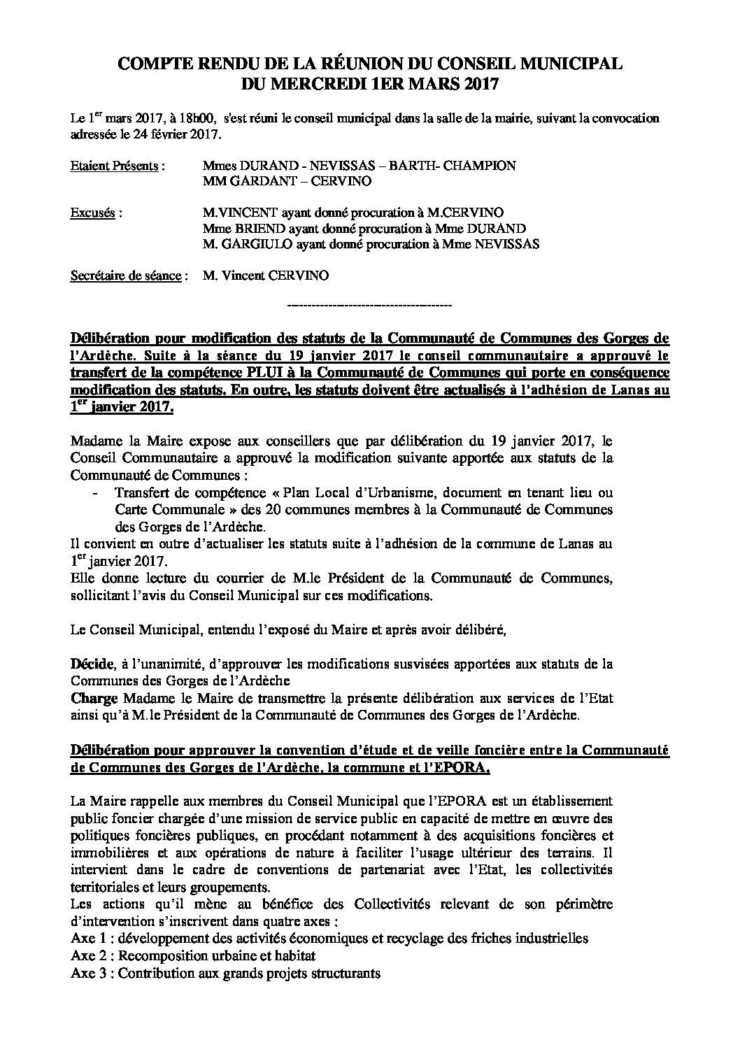 Conseil municipal du 1er mars 2017