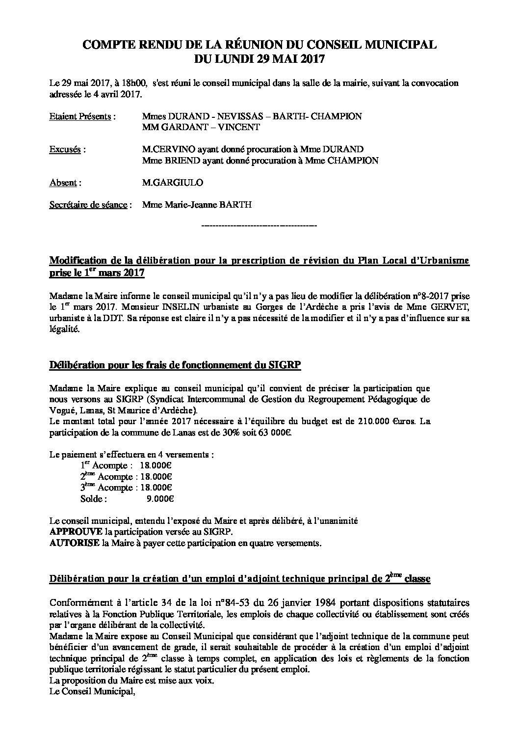 Conseil Municipal du 29 mai 2017