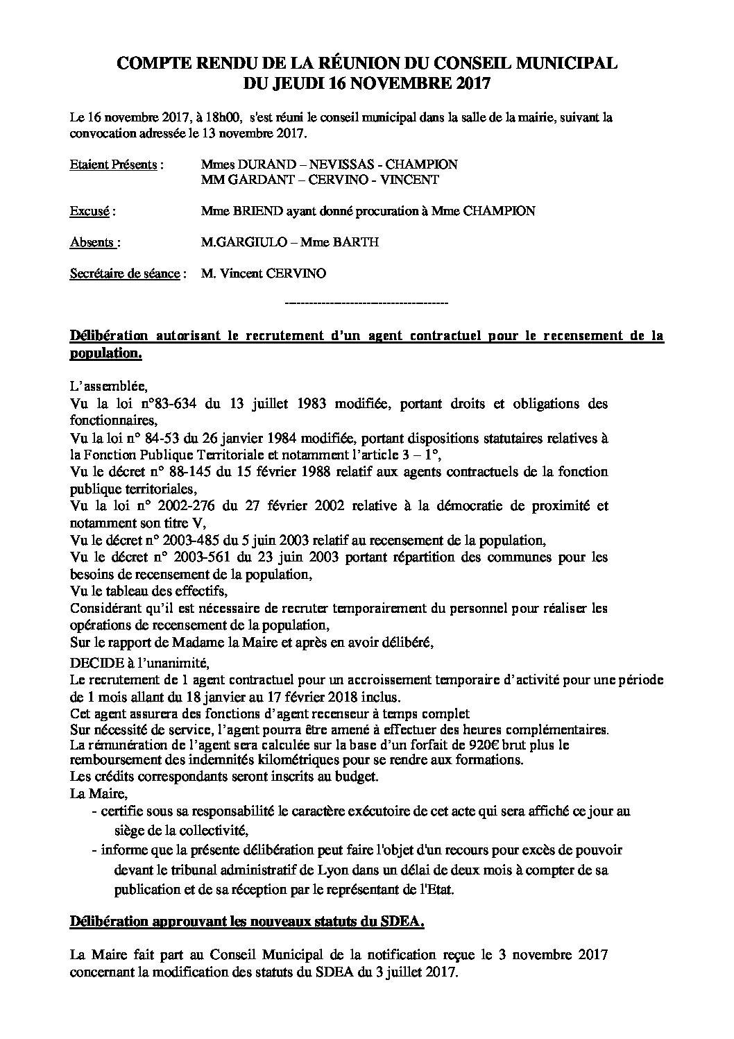 Conseil Municipal du 16 novembre 2017