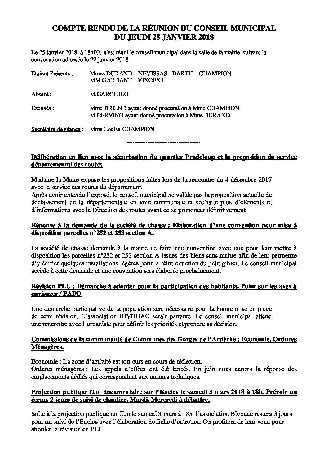 Conseil municipal du 25 janvier 2018