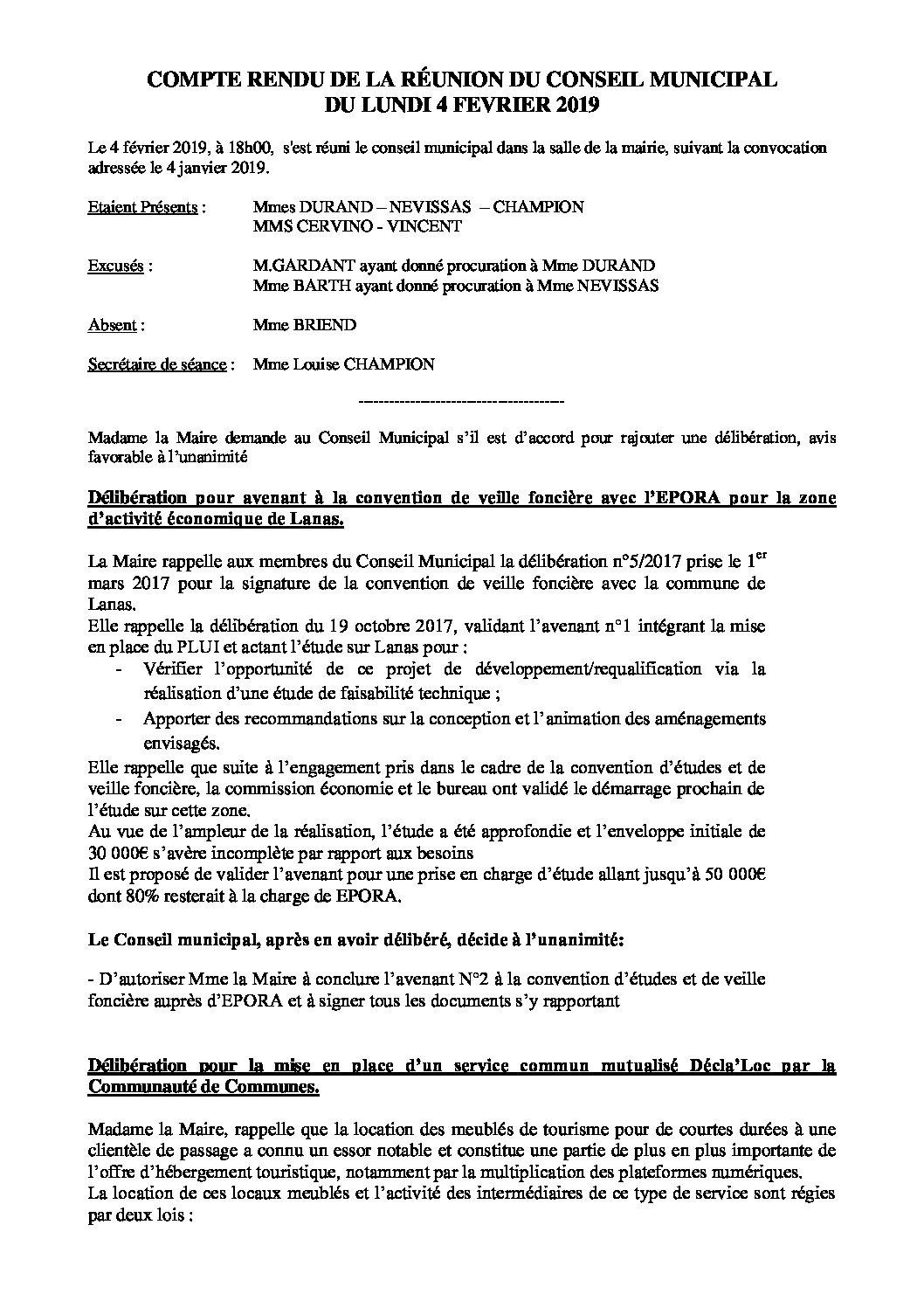 Conseil municipal du 4 février 2019