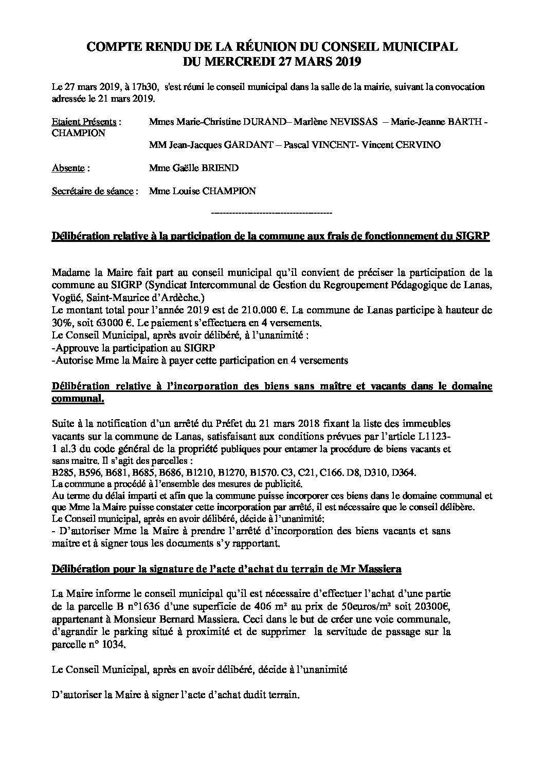 conseil municipal du 27.03.2019