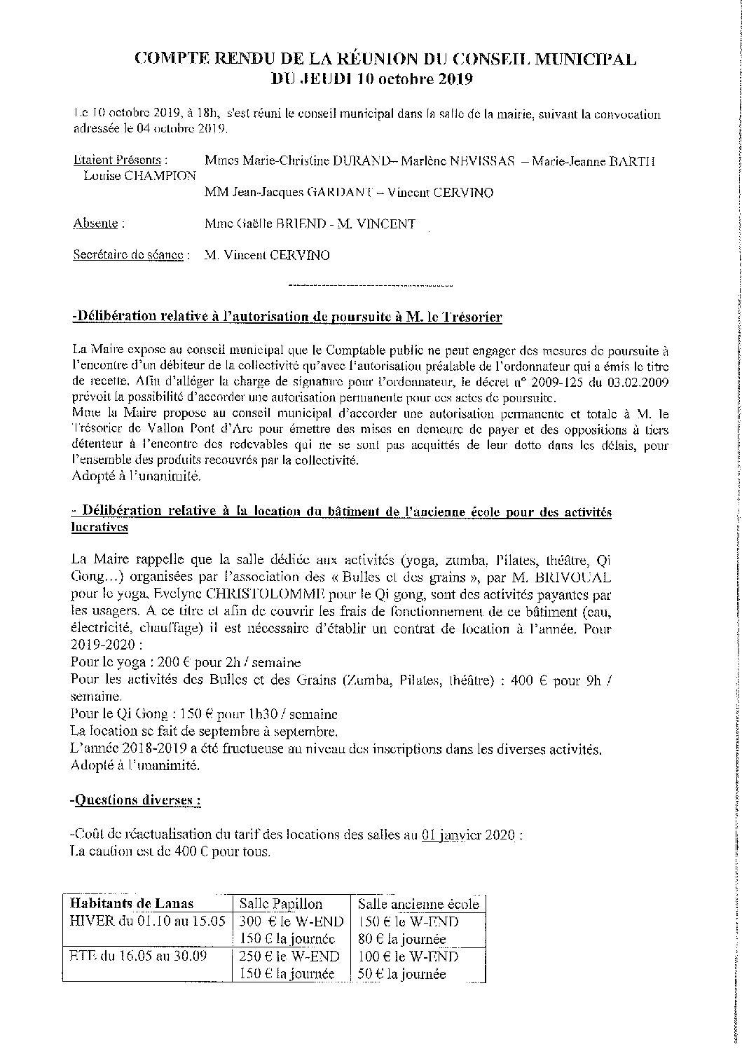 CR du Conseil municipal du 10.10.2019
