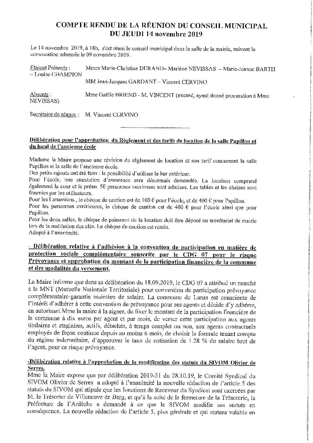 Compte rendu Conseil municipal du 14.11.2019