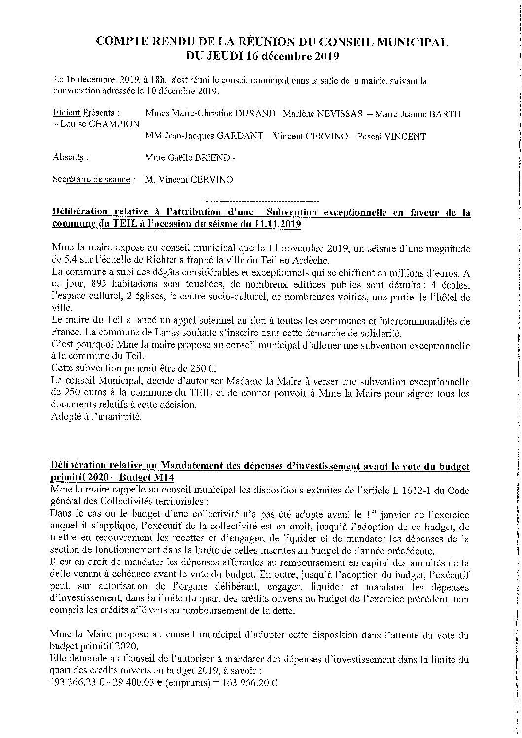 Compte rendu du Conseil Municipal du 16 décembre 2019