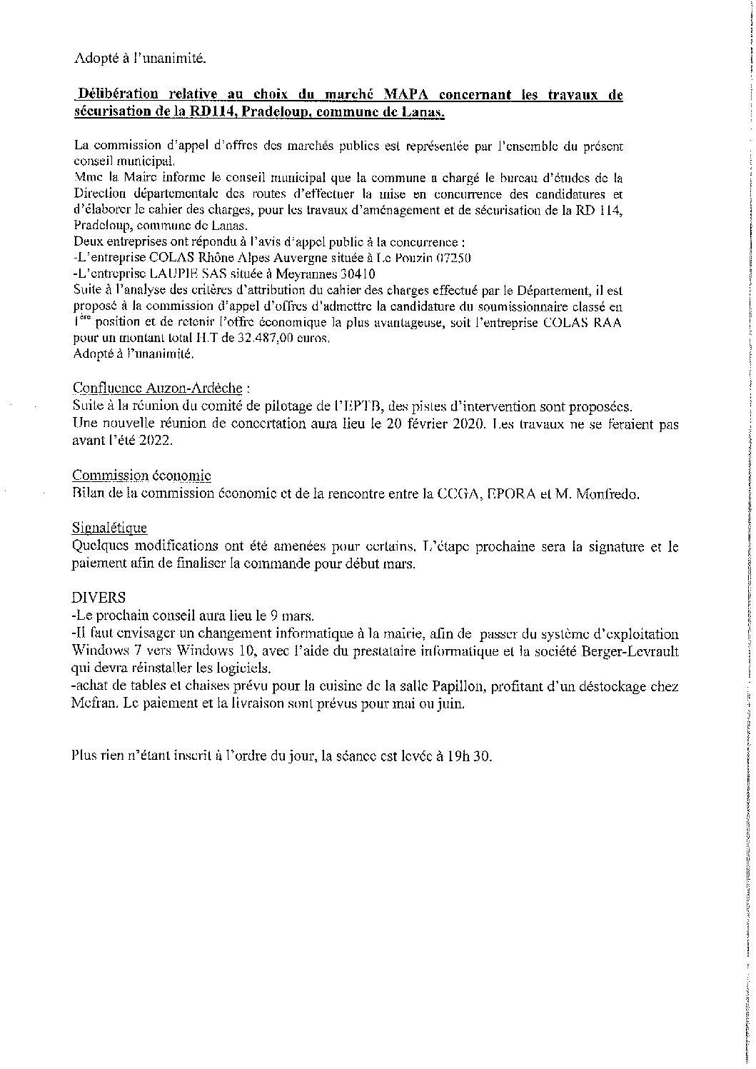 Compte rendu conseil municipal du 10 février 2020