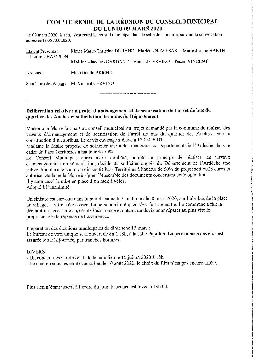 compte rendu Conseil Municipal du 09 mars 2020