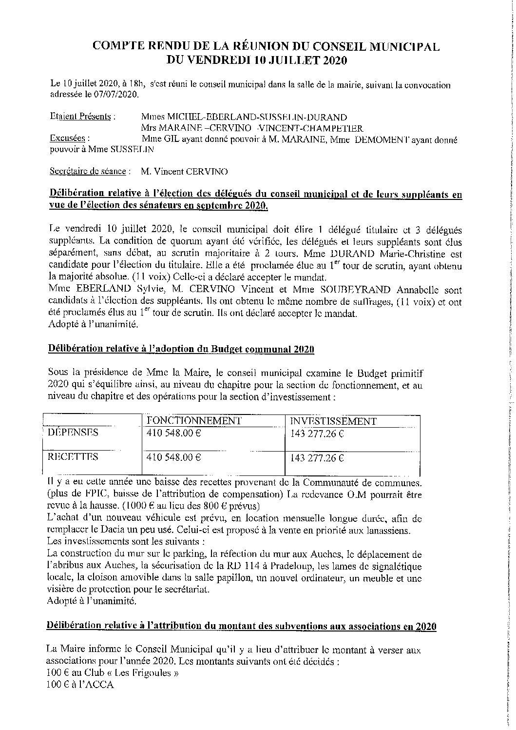 CR du Conseil municipal du 10 juillet 2020