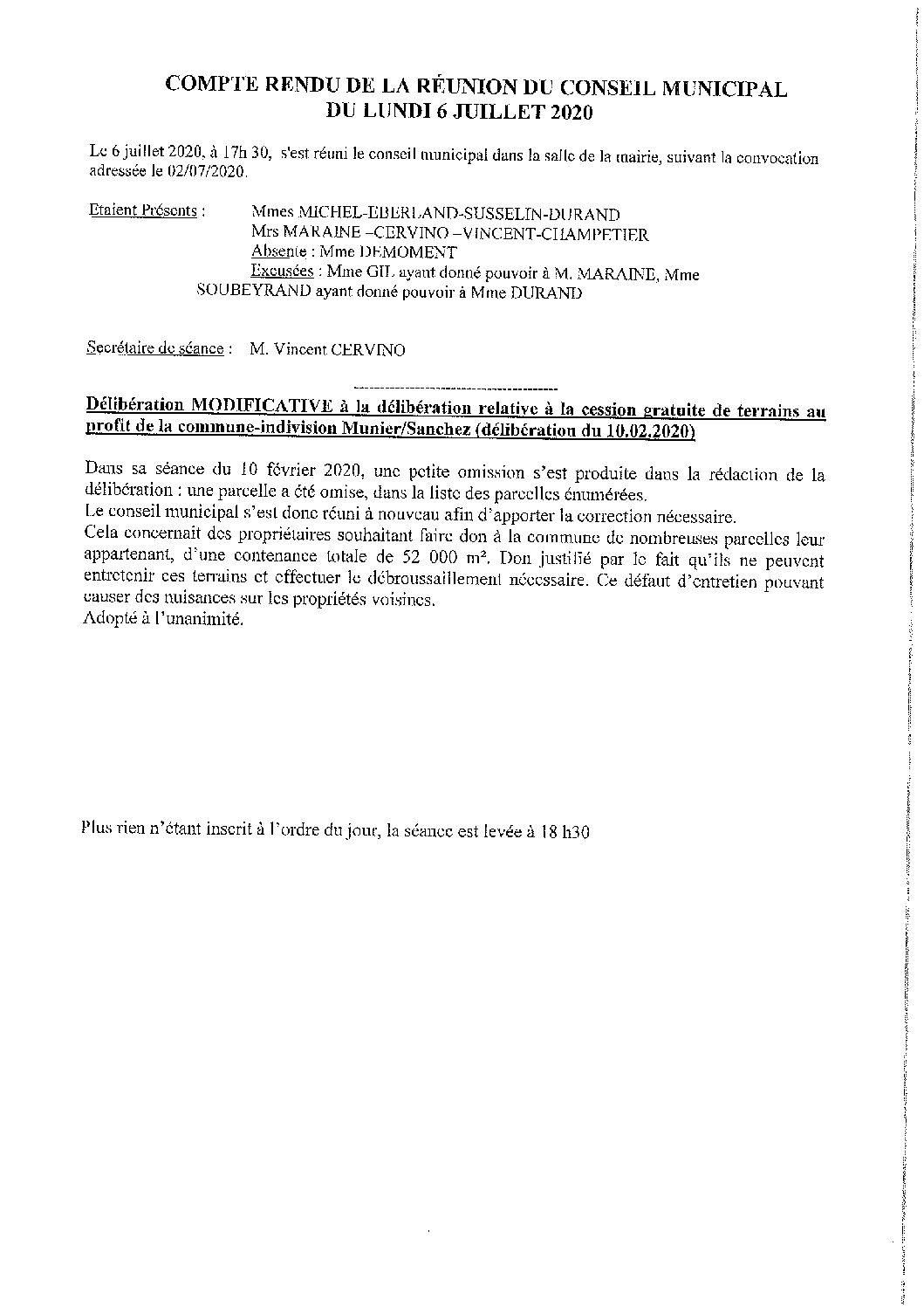 CR du conseil municipal du 06.07.2020