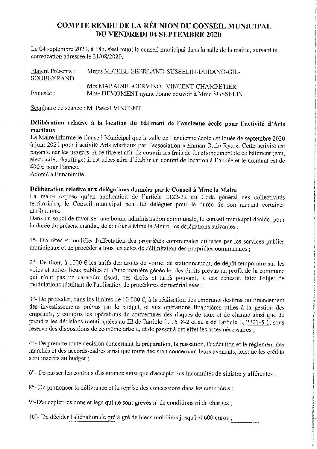 CR Conseil municipal du 04 septembre 2020